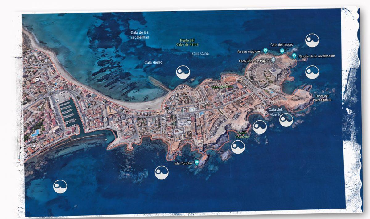 mapa inmersiones fuera de la reserva de cabo de palos